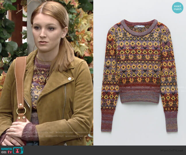 Jacquard Knit Sweater by Zara worn by Madison Thompson The Young and the Restless worn by Jordan (Madison Thompson) on The Young & the Restless