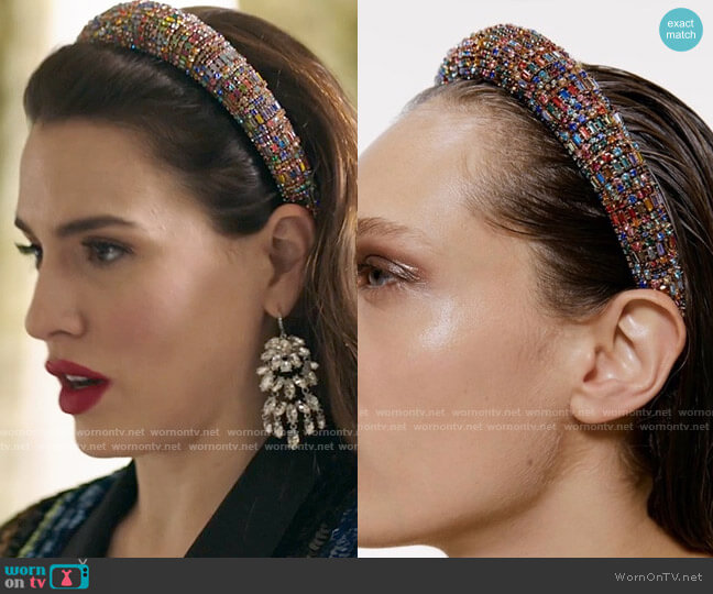 Zara Bejeweled Padded Headband worn by Ginger Sweet (Melia Kreiling) on Filthy Rich