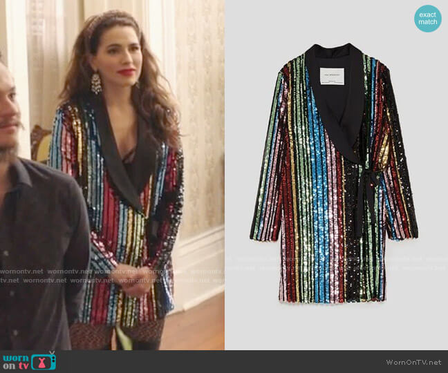 Zara Multicolored Sequin Wrap Dress worn by Ginger Sweet (Melia Kreiling) on Filthy Rich