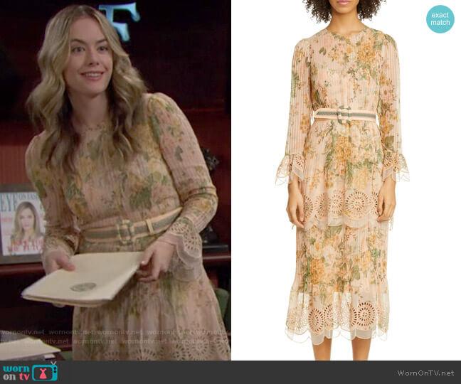 Zimmermann Amelie Dress worn by Hope Logan (Annika Noelle) on The Bold & the Beautiful