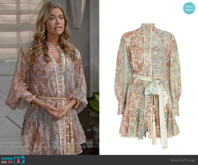 Zimmermann Lucky Bound Mini Dress worn by Shauna Fulton (Denise Richards) on The Bold & the Beautiful