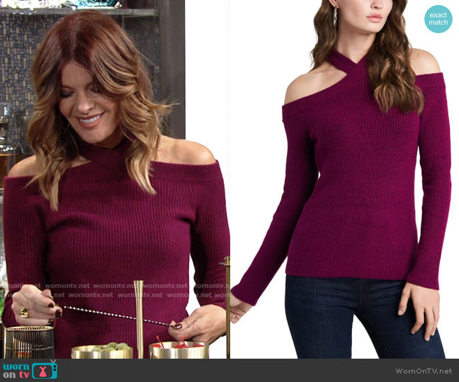 1.State Cross Neck Cold Shoulder Cotton Blend Sweater worn by Phyllis Summers (Michelle Stafford) on The Young & the Restless