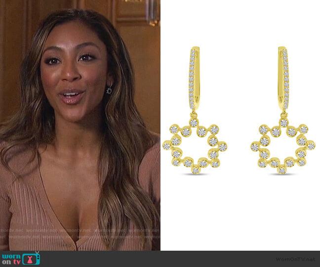 Diamond Bezel Dangle Earrings by Brevani worn by Tayshia Adams  on The Bachelorette