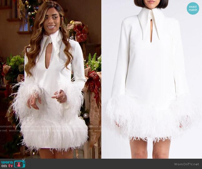 16Arlington Michelle Feather Trimmed Mini Dress worn by Zoe (Kiara Barnes) on The Bold & the Beautiful