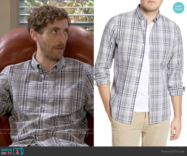 1901 Slim Fit Plaid Button-Down Shirt in Grey Silk Linen Madras Check worn by Drew Dunbar (Thomas Middleditch) on B Positive