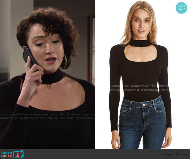 Cut Out Mock Neck Top by 525 America worn by Maria DiDomenico on The Young and the Restless