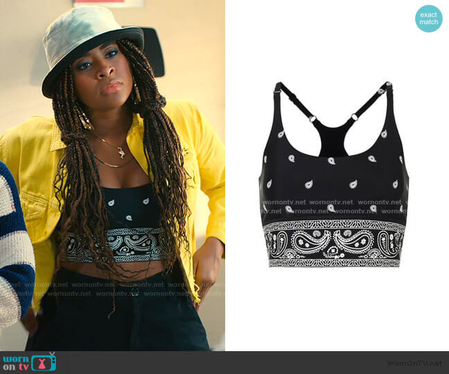 Printed Sports Bra by Adam Selman Sport worn by Aisha (Alycia Pascual-Pena) on Saved By The Bell