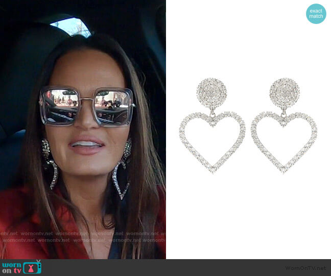 Crystal-Embellished Earrings by Alessandra Rich worn by Lisa Barlow  on The Real Housewives of Salt Lake City