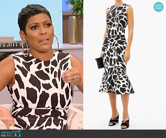 Flared giraffe-print crepe dress by Alexandre Vauthier worn by Tamron Hall  on Tamron Hall Show