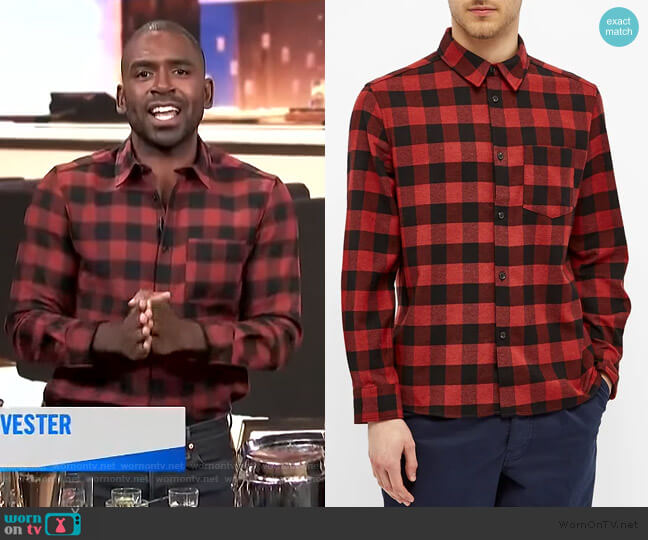John Check Twill Shirt by APC worn by Justin Sylvester  on E! News