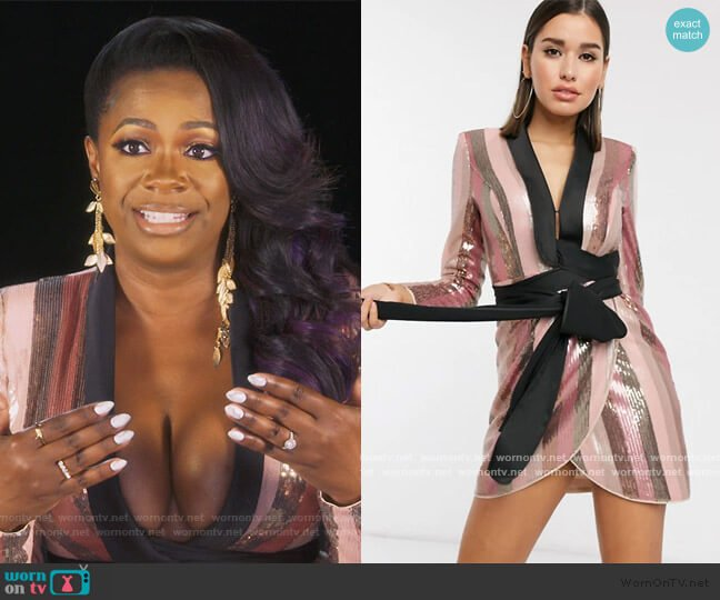 Tux Mini Dress in Pink Stripe Sequin Dress by ASOS worn by Kandi Burruss  on The Real Housewives of Atlanta