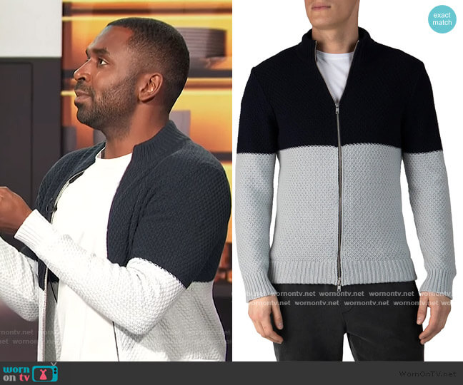Colorblock Cotton-Blend Zip Up Sweater by ATM Anthony Thomas Melillo worn by Justin Sylvester  on E! News