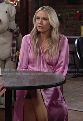 Abby's pink satin wrap dress on The Young and the Restless