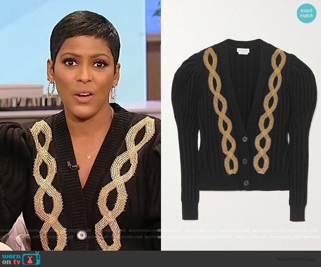 Embellished ribbed wool-blend cardigan by Alexander McQueen worn by Tamron Hall  on Tamron Hall Show