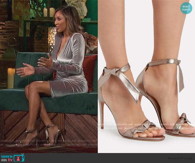 Clarita 100 Leather Sandals by Alexandre Birman worn by Tayshia Adams  on The Bachelorette