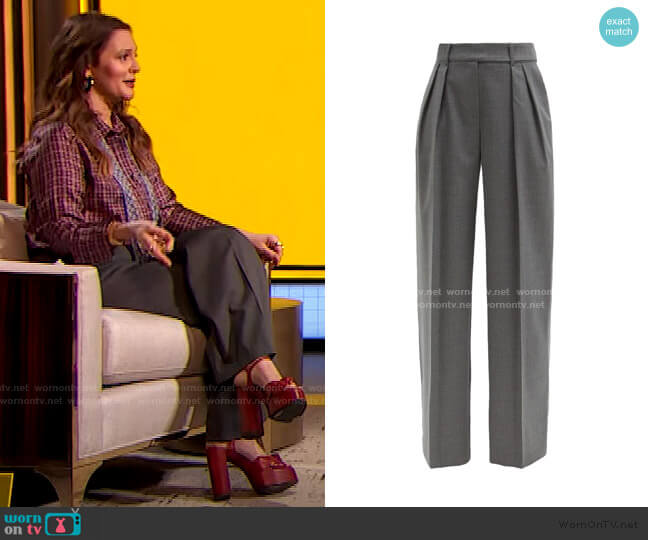 High-Rise Wide-Leg Trousers by Alexandre Vauthier worn by Drew Barrymore  on The Drew Barrymore Show