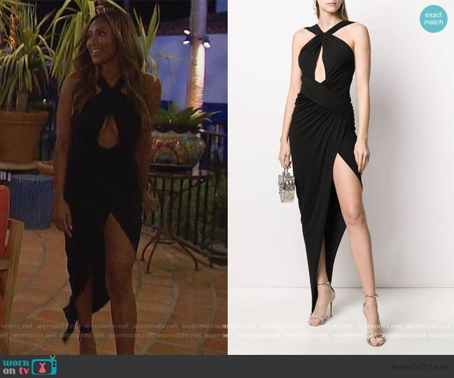 front slit cut-out detail evening dress by Alexandre Vauthier worn by Tayshia Adams  on The Bachelorette