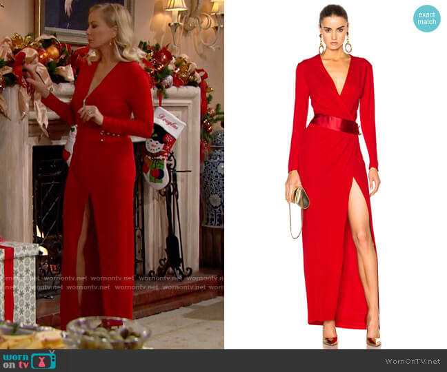 Alexandre Vauthier Long Sleeve Maxi Dress worn by Brooke Logan (Katherine Kelly Lang) on The Bold & the Beautiful