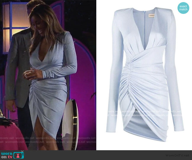 plunge-neck ruched mini dress by Alexandre Vauthier worn by Tayshia Adams  on The Bachelorette