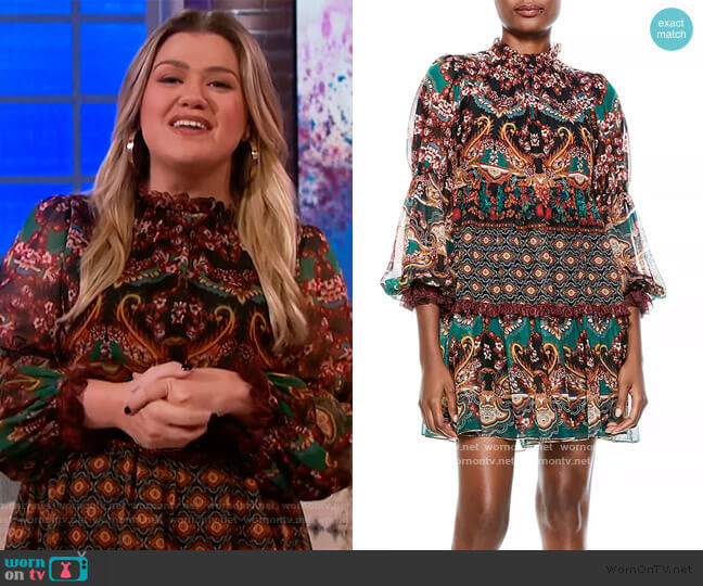 Marella Printed Mock Neck Dress by Alice + Olivia worn by Kelly Clarkson  on The Kelly Clarkson Show