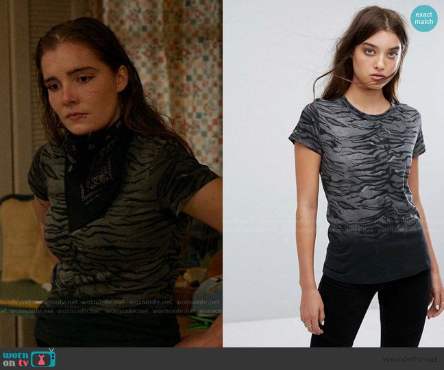 Sweat T-Shirt in Tiger Print by All Saints worn by Sandy Milkovich (Elise Eberle) on Shameless