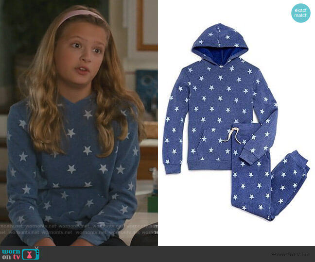 Challenger Star Print Hoodie & Dodgeball Pants by Alternative worn by Anna-Kat Otto (Giselle Eisenberg) on American Housewife