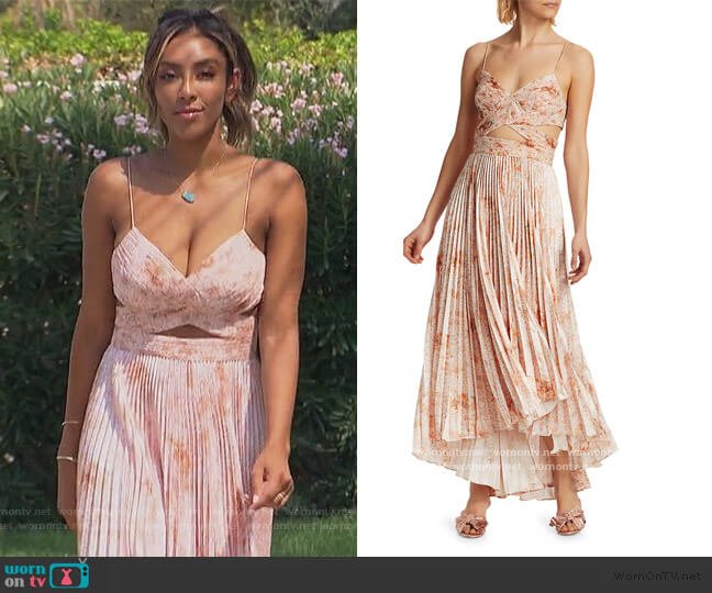 Lumi Cutout Pleated Dress by Amur worn by Tayshia Adams  on The Bachelorette