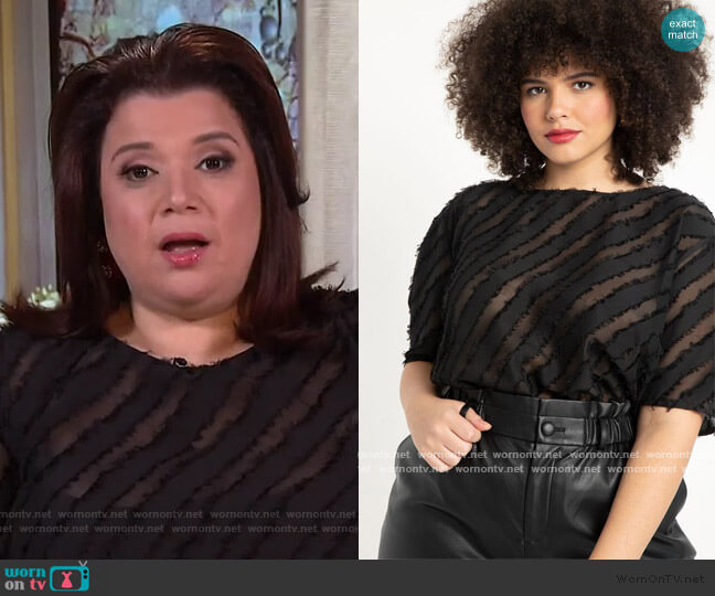 Rounded Sleeve Jacquard Blouse by Eloquii worn by Ana Navarro  on The View