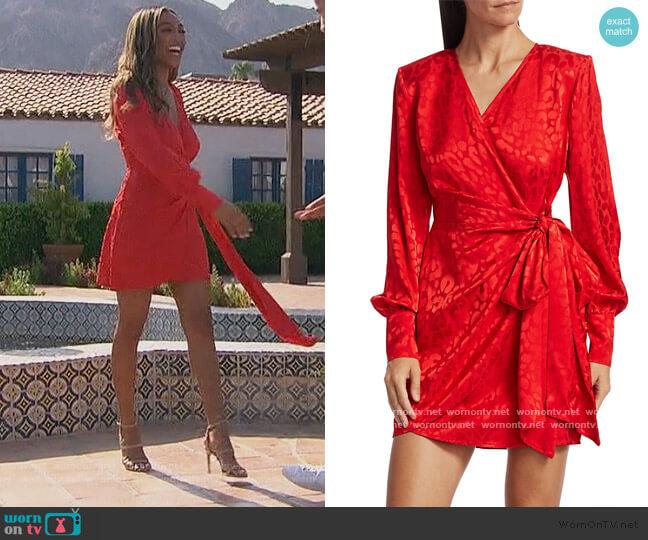 Carly Side-Bow Mini Wrap Dress by Andamane worn by Tayshia Adams  on The Bachelorette