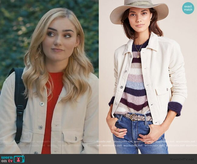 The Evonne Corduroy Trucker Jacket by AG Jeans at Anthropologie worn by Taylor Otto (Meg Donnelly) on American Housewife