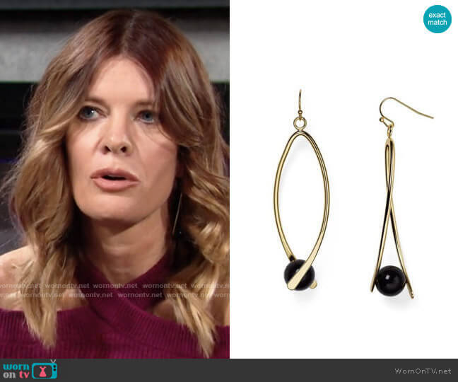 Aqua Kylie Linear Drop Earrings worn by Phyllis Summers (Michelle Stafford) on The Young & the Restless
