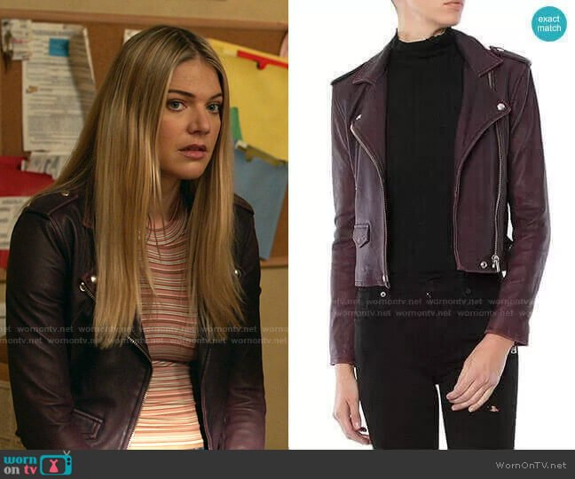 Ashville Leather Jacket in Plum by Iro worn by Tami Tamietti (Kate Miner) on Shameless