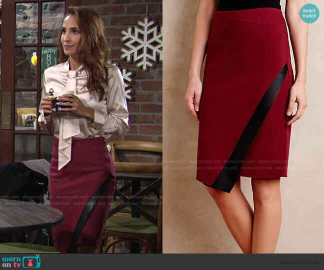 Astin Wrap Skirt by Bailey 44 worn by Lily Winters (Christel Khalil) on The Young & the Restless