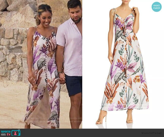 Varadero Cotton Floral-Print Dress by Atelier 1756 worn by Tayshia Adams  on The Bachelorette