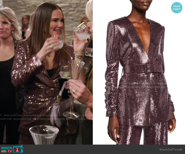 Sequin Crush-Sleeve Belted Jacket by Badgley Mischka Collection worn by Meredith Marks  on The Real Housewives of Salt Lake City