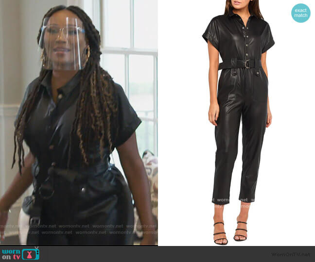 Faux Leather Belted Jumpsuit by Bardot worn by Cynthia Bailey  on The Real Housewives of Atlanta