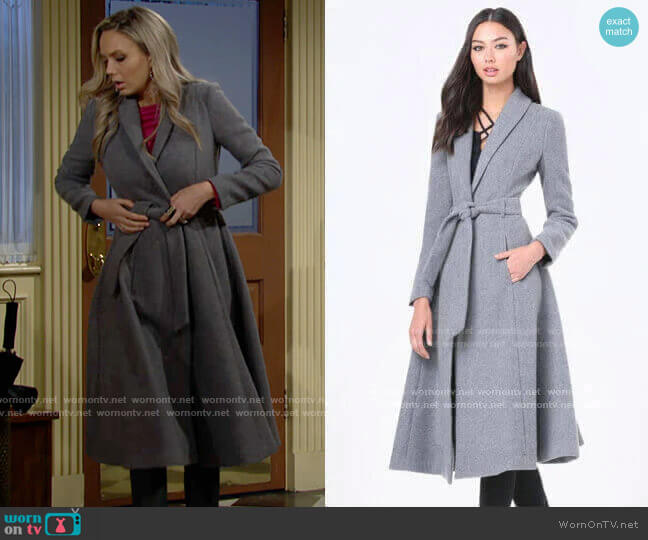 Bebe Belted Wrap Midi Coat worn by Abby Newman (Melissa Ordway) on The Young & the Restless