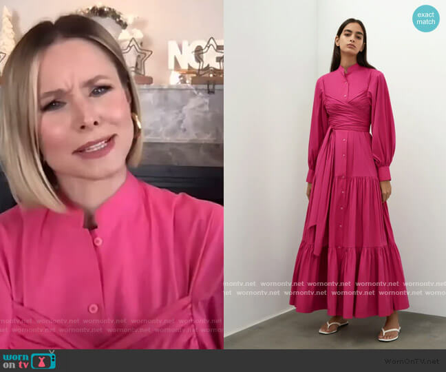 Puff Sleeves Belted Dress by Bouguessa worn by Kristen Bell on The Drew Barrymore Show