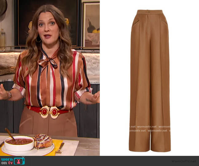 Creased Wool-Silk Twill Wide-Leg Pants by Brandon Maxwell worn by Drew Barrymore  on The Drew Barrymore Show