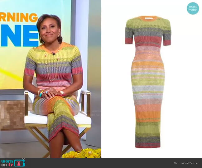 Brightside Knit Dress by Zimmermann worn by Robin Roberts  on Good Morning America
