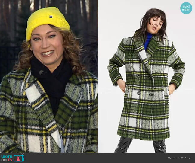 Brushed Check Double Breasted Coat by Asos worn by Ginger Zee  on Good Morning America