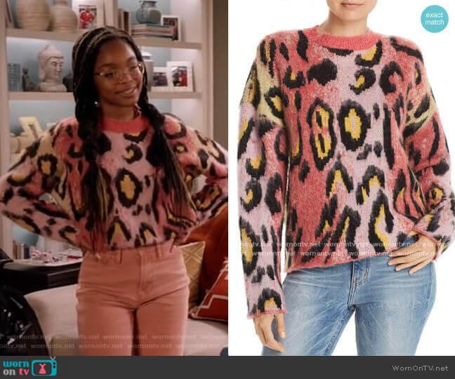 Brushed Leopard Print Sweater by Aqua worn by Diane Johnson (Marsai Martin) on Blackish