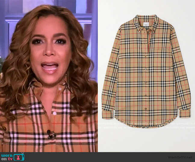 Checked cotton-blend shirt by Burberry worn by Sunny Hostin  on The View