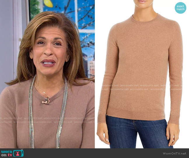 Crewneck Cashmere Sweater by C by Bloomingdale's worn by Hoda Kotb  on Today