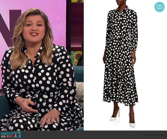 Polka-Dot Tie-Waist Shirtdress by Carolina Herrera worn by Kelly Clarkson  on The Kelly Clarkson Show