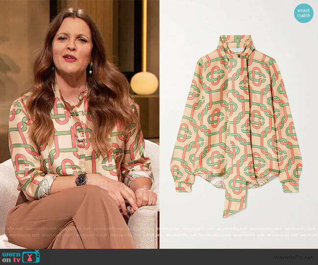 Tie-detailed printed silk-twill blouse by Casablanca worn by Drew Barrymore  on The Drew Barrymore Show
