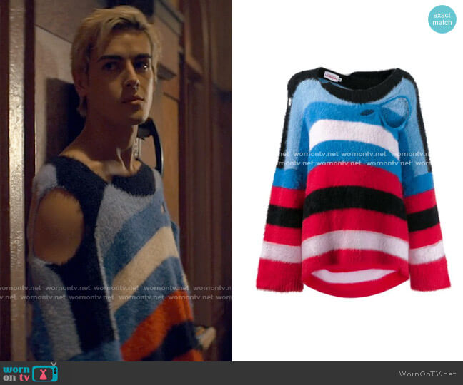 Charles Jeffrey Loverboy Distressed Striped Sweater worn by Shane (Brennan Clost) on Tiny Pretty Things