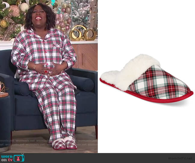 Stewart Plaid Scuff Slippers by Charter Club worn by Sheryl Underwood  on The Talk