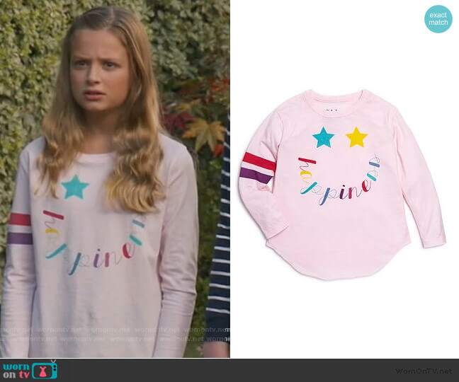 Stars & Happiness Tee by Chaser worn by Anna-Kat Otto (Giselle Eisenberg) on American Housewife
