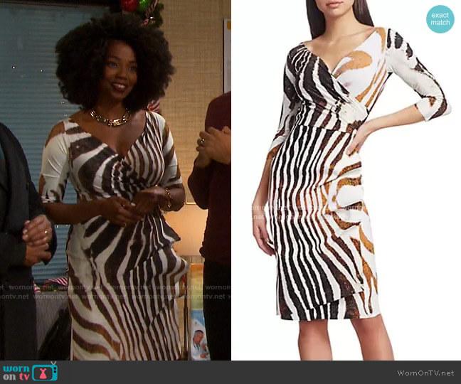 Florien Zebra Print Dress by Chiara Boni La Petite Robe worn by Valerie Grant (Vanessa Williams) on Days of our Lives
